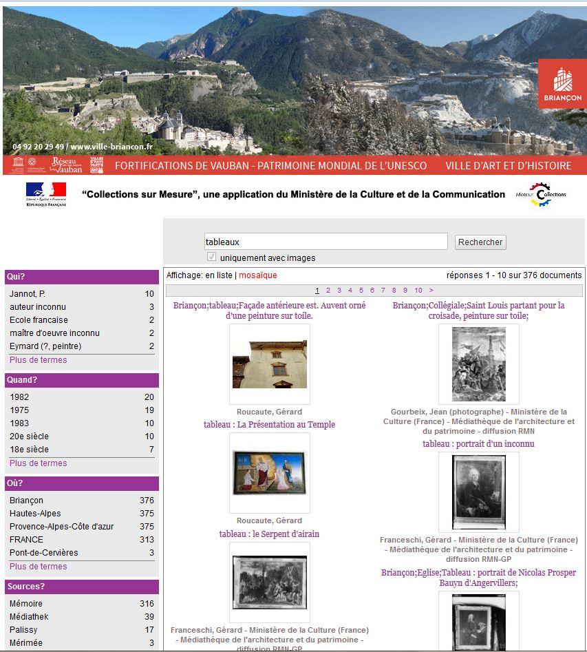 """Briançon présent dans la base de données """"Collections sur Mesure"""" 1"""