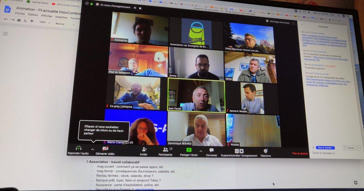 La vie reprend : Les Enseignes de Briançon organisent des visio-conférences de plus en plus élargies pour préparer la reprise lors du déconfinement - www.dici.fr 1