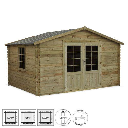 Abri de jardin 3 x 4 m traité autoclave classe 3, SERRE CHEVALIER en bois FSC de 12,9 m² - www.alicesgarden.fr 1