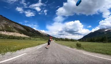 Hautes-Alpes : images insolites de Kite Skate à Serre-Chevalier Vallée Briançon - www.dici.fr 4